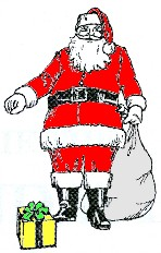 A picture of Father Christmas with sack and presents